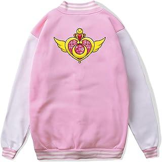 VJJ AIDEAR Sailor Moon Funny Baseball Uniform Jacket Sport Coat Boys' Long Sleeve Hoodie Hooded Sweatshirt Black