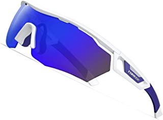 TOREGE Polarized Sports Sunglasses with 3 Interchangeable Lenses for Men Women Cycling Running Driving Fishing Golf Baseball Glasses TR05