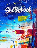 Sketchbook: Best blank white pages with paint art multicolor cover for painting, drawing, writing, sketching and doodling, wide papers 8.5 x 11, 120 pages for children, kids, gift for him, her.