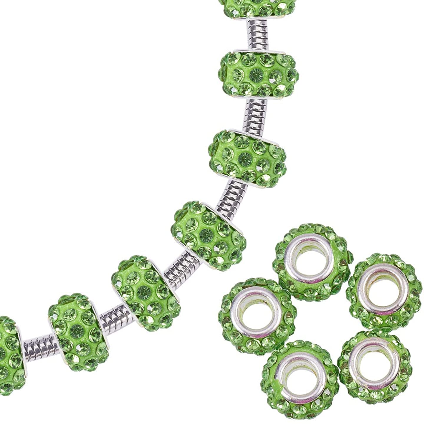 NBEADS 100 Pcs Polymer Clay Crystal Rhinestone European Beads Large Hole fit Charm Bracelet,Peridot,11~12mm in Diameter,7~7.5mm Thick, Hole: 5mm