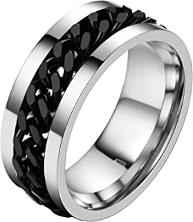 U7 Men Women Stainless Steel 5mm 7mm Wide Band Cuban Link Chain Ring/Spinner Rings, Size 5 to 12, Gift Wrapped