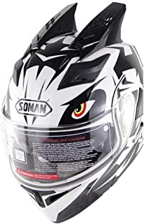 LJPAN Modular Flip Up Dual Visor Sun Full Face Motorcycle Helmet, Double Corner DOT Approved Moto Helmet for Racing Car Locomotive Unisex-Adult White,L