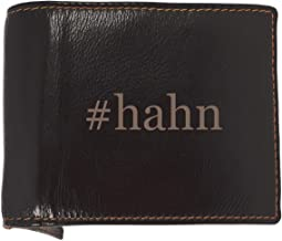 #hahn - Soft Hashtag Cowhide Genuine Engraved Bifold Leather Wallet