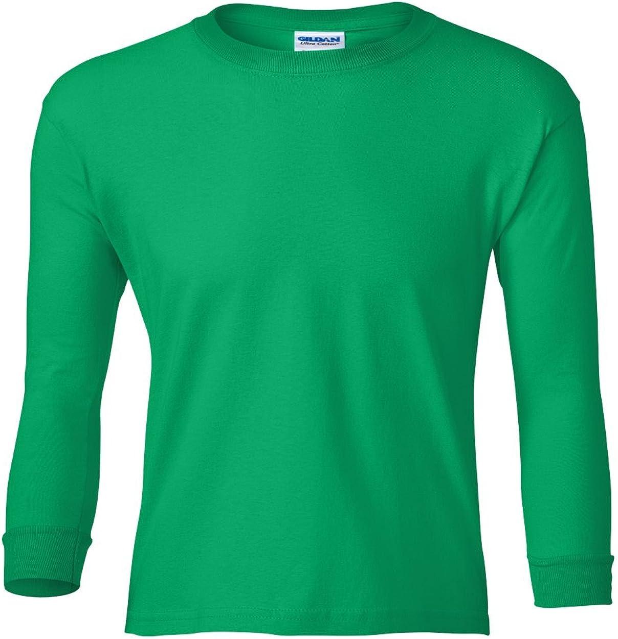 Cotton Long-Sleeve T-Shirt (G240B) Irish Green, L (Pack of 12)