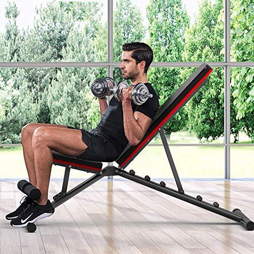 MUZIDP Banco de pesas para ejercicio con pesas ajustable, banco plano para fitness, portátil, inclinación, declinación, banco de ejercicios, abdominales, gimnasio en casa
