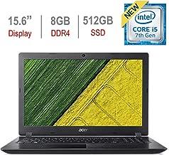 Acer Aspire 15.6-inch HD Laptop PC, Intel Core i5-7200U 2.5GHz Processor, 8GB DDR4 RAM, 512GB Solid State Drive, Bluetooth, HDMI, USB 3.0, Stereo Speakers, Intel HD Graphics 620, Windows 10, Black