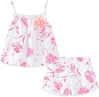 LittleSpring Little Girls' Clothing Shorts Set Flower