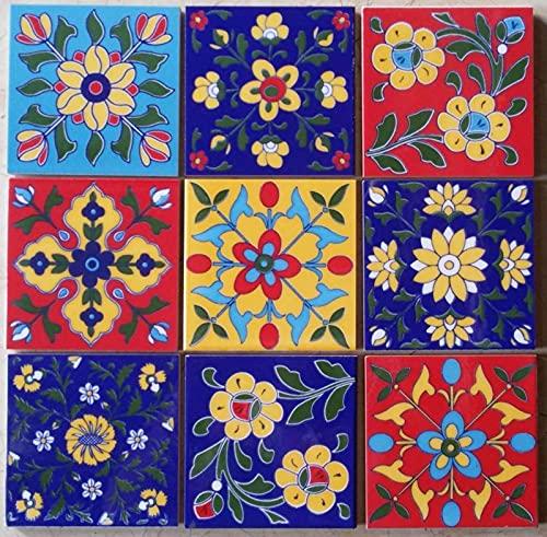Lote de 9 azulejos de cerámica multicolor hechos a mano con diseño de Mónaco de 10 x 10 cm de estilo marroquí de mosaico cuadrado de cerámica multicolor