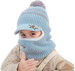 MODNTOGA Kids Toddler Baby Girls Boys Winter Knitting Hat Warm Pom Scarf Earflap Hood Caps 1-5 Years Old