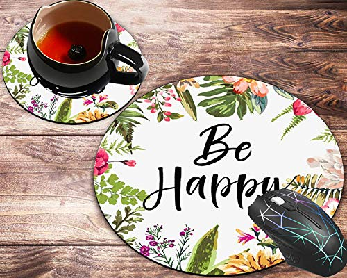 Round Mouse Pad and Coasters Set, Be Happy Neoprene Inspirational Quote Watercolor Vintage Flower Mousepad, Non-Slip Rubber Round Mouse Pad, Customized Mouse Mat for Working and Gaming