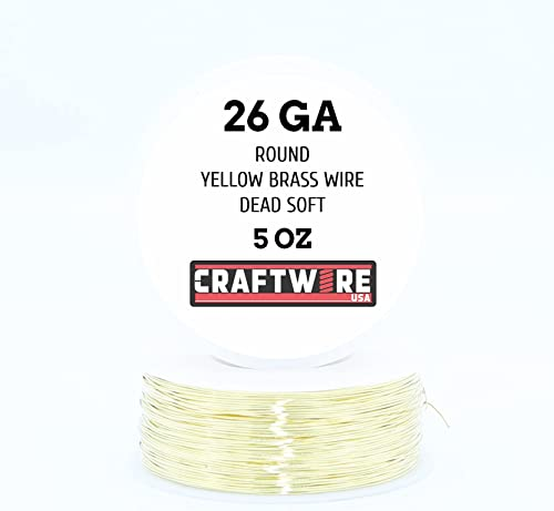 Solid Bare Yellow Brass Wire Round Selection, Dead Soft, 5OZ, 26 Gauge