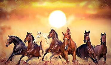 SHSWorks Fengshui - Seven Horses 17.5x30 (Inch) Wall Art Canvas Painting Signed By Artist For Living Room Bedroom Home & O...