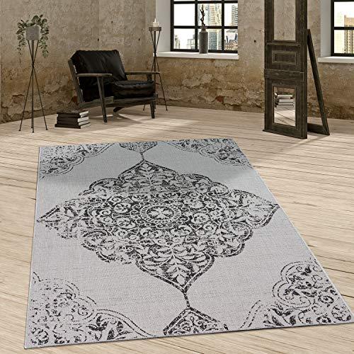 Paco Home In- & Outdoor Teppich Vintage Design Ornamente Paisley Muster Elegant In Grau, Grösse:80x200 cm
