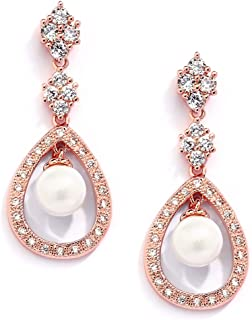 CZ and Pearl Drop Vintage Wedding Dangle Earrings, Art Deco Clip-On or Pierced Style for Brides