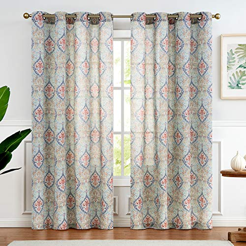 Medallion Linen Blend Curtains for Living Room 84 Inch Length Drapes Damask Pattern Flax Draperies Window Treatments for Sliding Glass Doors Bedroom Curtain Panels 1 Pair Green
