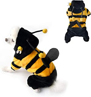 None/Brand Pet Bee Funny Halloween Costume Dog Hoodie Clothes, Dog and Cat Holiday Costume for Halloween Christmas Cospla...