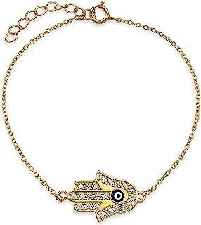 Turkish Amulet Talisman Delicate Dainty Evil Eye Hamsa Hand Charm Bracelet For Women Teens Cubic Zirconia CZ 14K Gold Plat...