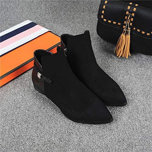 Shukun laarzen herfst en winter mat zwart bare laarzen platte onderkant met lage hak Martin laarzen vrouwelijke booties spitse afzonderlijke laarzen