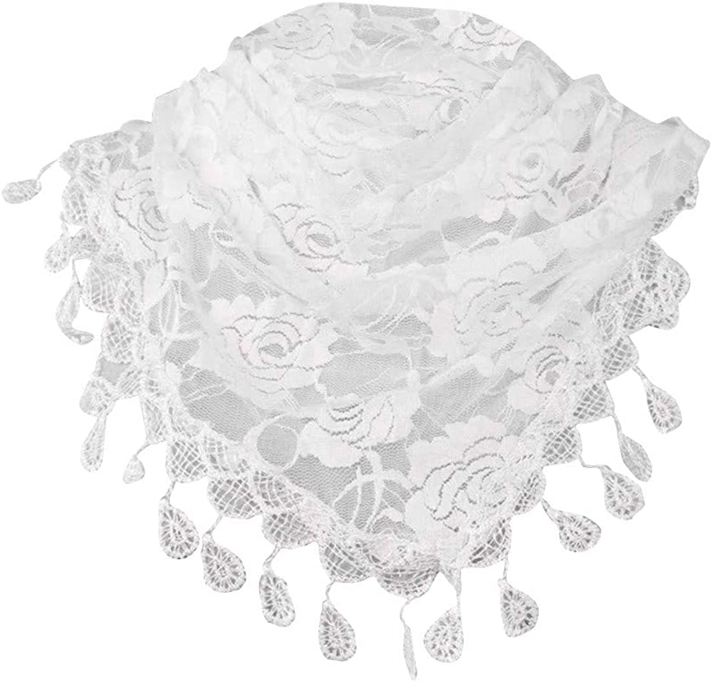 Clearance!Women Scarf Soft Solid Neck Scarves Lace Hollow Long Shawl Tassel Winter Wrap Drfoytg (White)