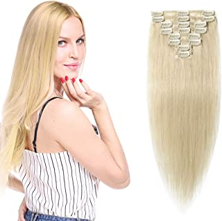 Hairro Clip in Human Hair Extensions Weft (#60 Platinum Blonde) 100% Remy Human Hair Invisible Light Thin Long Straight Na...