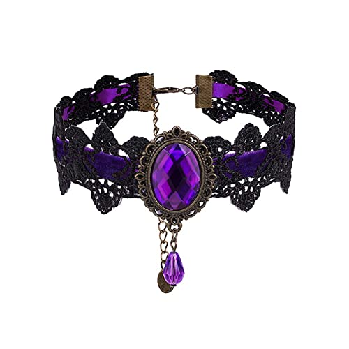 "gothic style choker purple heart amythest bead drop 13/"" velvet necklace"