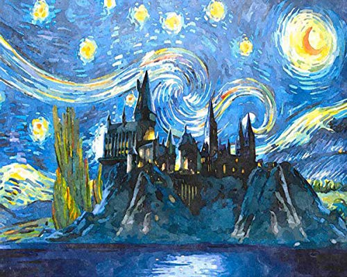 HOMEEY Paint by Numbers for Adults, Harry Potter Starry Night Paint by Number Kit, DIY Oil Painting Paint by Number Kit for Home Wall Decoration, 16'W X 20'L