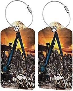 Multicolor luggage tag Industrial Decor Collection Car Recycling to the Dump Dramatic Scene at the Sunset Crane Junkyard Image Hanging on the suitcase Orange Navy Blue Ivory W2.7