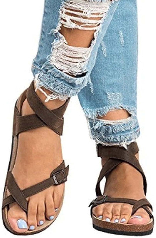 Bravetoshop Excellent Women's Flat Sandals Ankle Toe Open Comfortabl Financial sales sale Strap