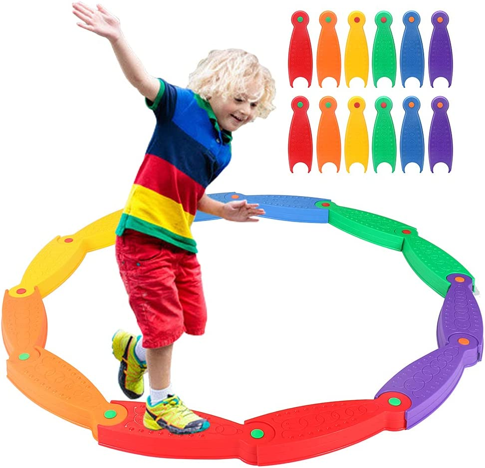 OMNISAFE 12 Pcs Stepping Stones SALENEW very popular for Kids Be Balance Wavy Circle Memphis Mall