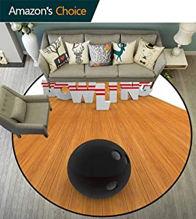 Bowling Party Decorations Round Rug Baby Room,Bowling Alley with Skittles and Ball in Position No Chemical Odor,Light Brown Black White,D-51
