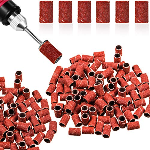 300 Pieces Nail Sanding Bands 180/80/ 240 Grit Fine Grit Nail Art Sanding Bands for Nail Drill Brown Manicure Sanding Bands Nail Drill File Refill for Manicure Artificial or Natural Nails (240 Grit)