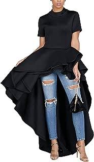 Kearia Women Ruffle High Low Asymmetrical Turtleneck Tops Blouse Shirt Dress