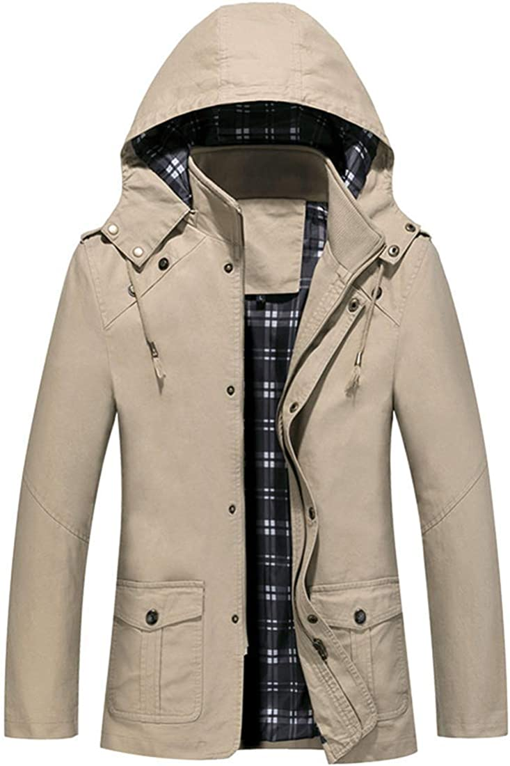 Vcansion Men's Cotton Military Windbreaker Jacket with Hood Trench Coat