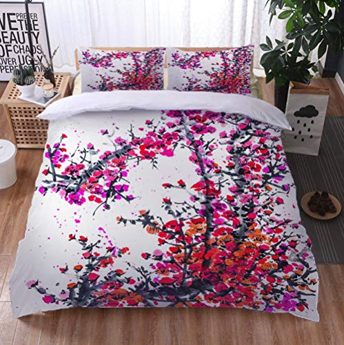 Plum blossom Bedding Sheets set, 3 Pieces Soft and Breathable Duvet Cover Set, 220cm x 240cm
