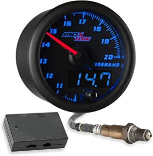 MaxTow Double Vision Wideband Air/Fuel Ratio AFR Gauge Kit - Includes Oxygen Sensor, Data Logging Output & Weld-in Bung - Black Gauge Face - Blue LED Dial - Analog & Digital Readouts - 2-1/16