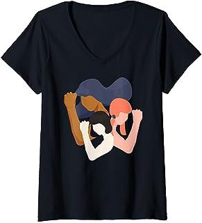 Femme Filles et Femmes Unity Power in Diversity féministe T-Shirt avec Col en V