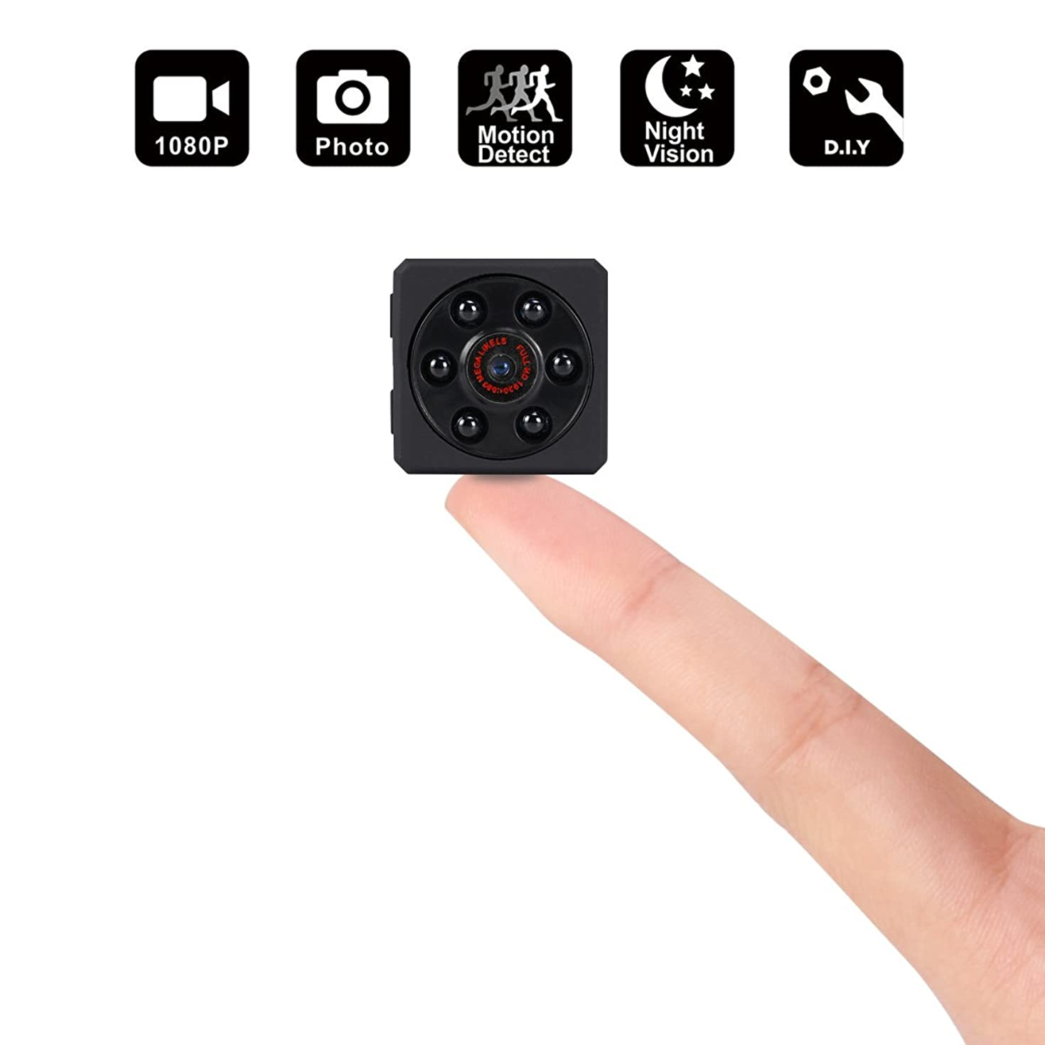 Mini Spy Hidden Camera,1080P Portable Small HD Nanny Cam Security System with Motion Detection,Infrared Night Vision,Suitable for Home Car Drone Office,Maximum Support 32GB TF Card