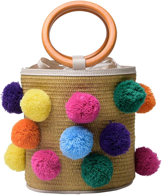 LXYIUN Gewebte Tasche Tasche Tasche Für Damen,Haarballen Mode Eine Schulter Strandtasche,IntegratedFarbe B07G5V936D 8b9eda