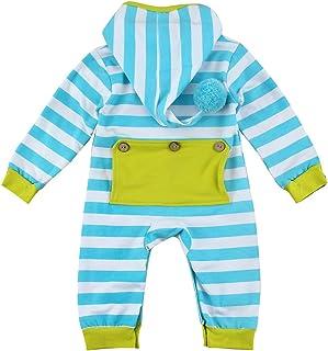 puseky Neugeborenes Säugling Baby Kapuzenpullover Streifen Strampler Overall Einteiler