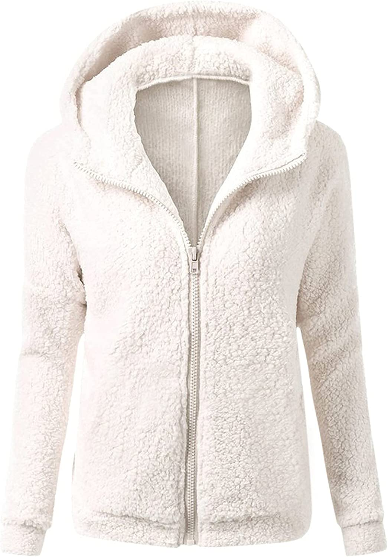 Women Teddy Fleece Hooded Jackets,Full Zip Up Long Sleeve Warm Elegant Work Office Trendy Coats Pocket Sweaters Outwear