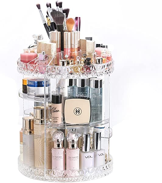 DreamGenius Makeup Organizer 360 Degree Rotating Adjustable Multi Function Acrylic Cosmetic Storage