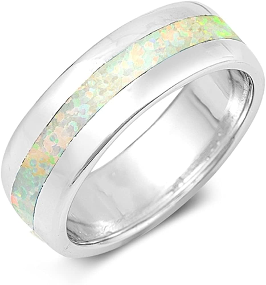 Translated 2021 new CloseoutWarehouse Blue Simulated Opal Ring Sterling Silver Band