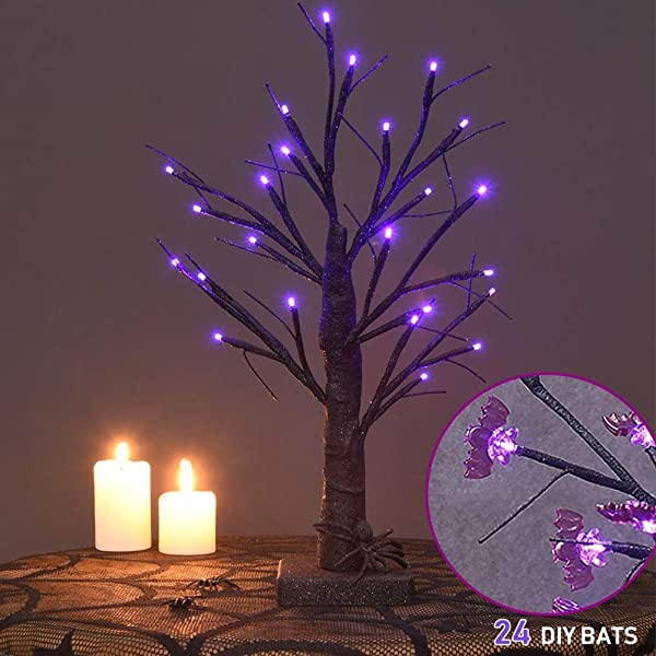 Twinkle Star 24 LED Halloween Lighted Black Tree Battery Operated With 24 DIY Purple Bat Indoor Home Table Best Halloween Decoration