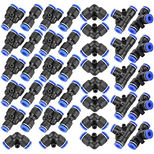 40 Pcs Pneumatische Fittings Druckluft Steckverbinder Luft Schnellkupplung 6mm 4 Form Einschließen Gerade Gestalten Ellbogen Y Verbinde and T förmig Für Luft Wasser Schlauchanschluss