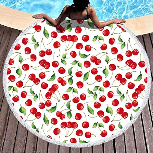 yjduop Large Circle Beach-Towels Pool-Towels Fruit Cherry Beach Throw Blanket Outdoor Picnic Mat with Tassels Ultra Soft Multi-Purpose Yoga Blanket for Picnic White 59 inch