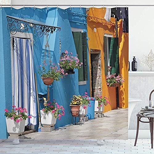 FANCYDAY Toscaanse Decor Collectie, Toegang tot Retro Huis met Bakstenen Weg en Bloemen Afbeelding, Mosterd Blauw Roze Ivoor