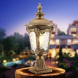 aipipl 51cm Traditionnel Victoria Porche Clôture Colonne Lampe E27 Nostalgique Classique Vintage Aluminium Verre Abat-Jour...