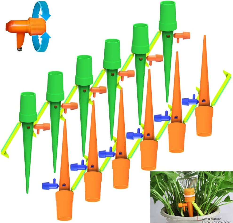 12 Self Watering Spikes,Plant Watering Devices,Plant Waterer Automatic Irrigation Spikes System with Slow Release Control,Automatic Plant Irrigation System for Potted Plants,Suitable for All Bottles