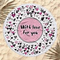 ロマンチックな愛のハート夏のビーチタオルでタッセル 150 センチメートルビッグラウンドバスタオルヨガマット毛布クリエイティブ誕生日ギフト