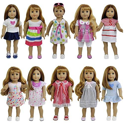 ZITA ELEMENT Puppenkleidung Puppenkleider Bekleidung für 35 - 46cm Babypuppe und 14/18 Zoll American Girl Doll Mädchen Spielzeug Puppen Kleidung Kleider Outfits (8 Set Puppenkleider)